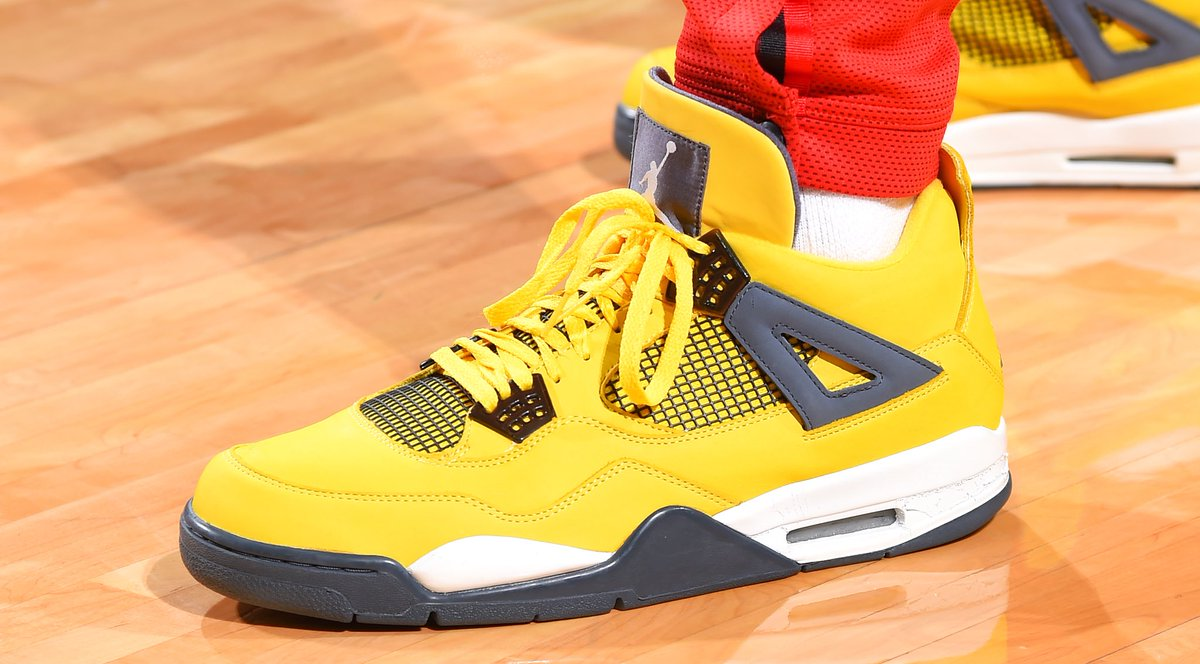 """575d4855d82ae P.j. tucker playing in """"lightning"""" air jordan 4s tonight. is it time for  these to release again  📸  bill baptist"""
