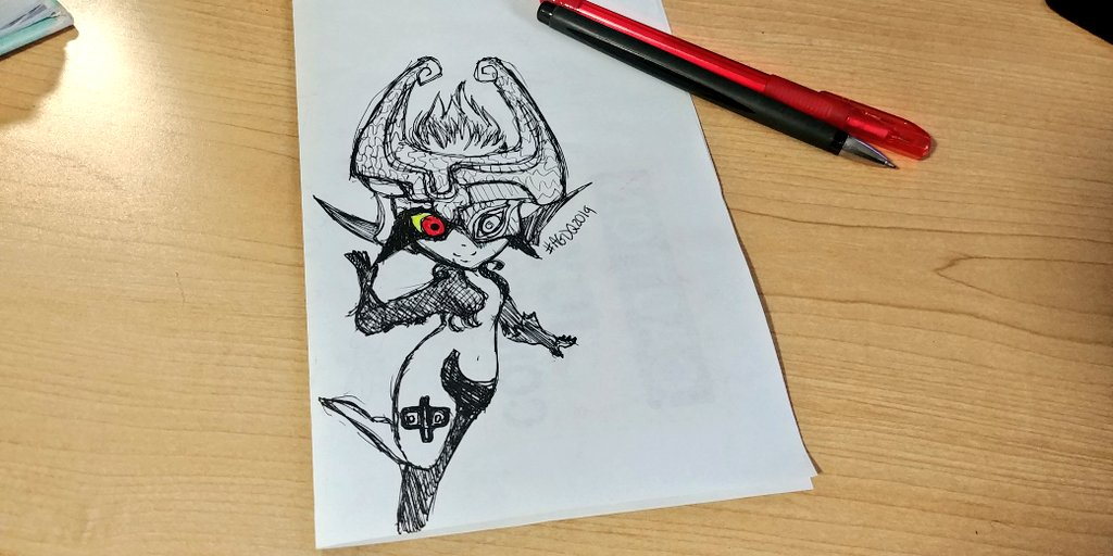 Good luck on the run, @SkyBlueAether ! Great commentary from the couch too! (Yay @MrGymnast86!  Im at work, so heres a tiny Midna sketch for #GamesDrawnQuick  #AGDQ2019<br>http://pic.twitter.com/ry54yujdjg
