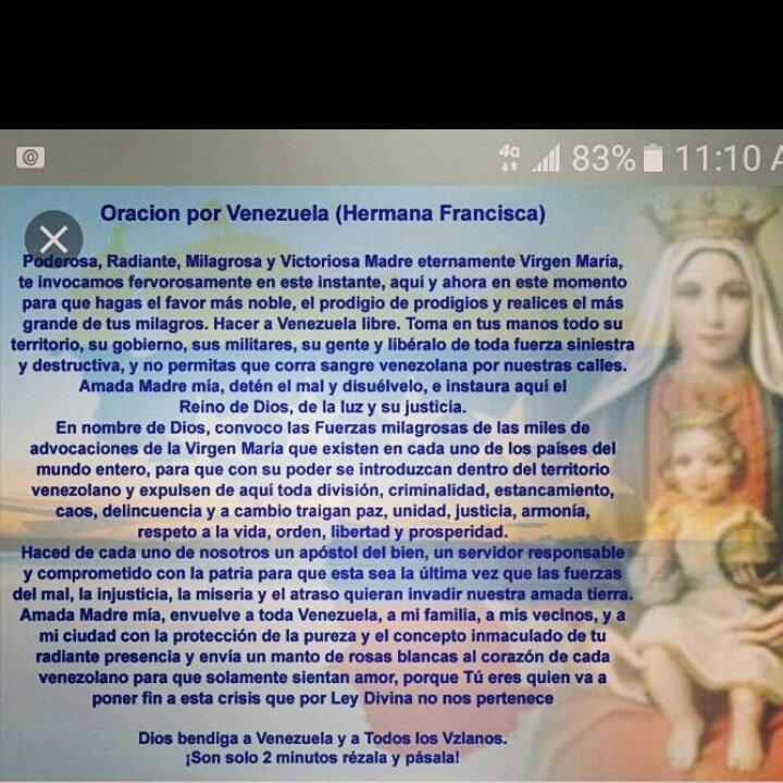 Que nuestro Dios y la Virgen María de Coromoto nos conceda el Milagro del cambio para nuestra Venezuela amén que así sea y así será