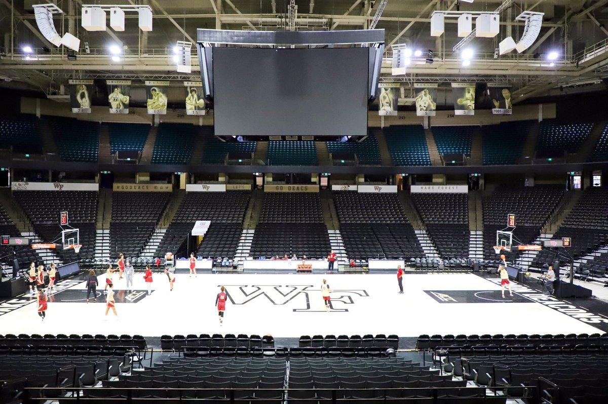 First things first ➡️ Practice in Winston Salem 🏀 #WeAreBC 🦅 – at Lawrence Joel Veterans Memorial Coliseum
