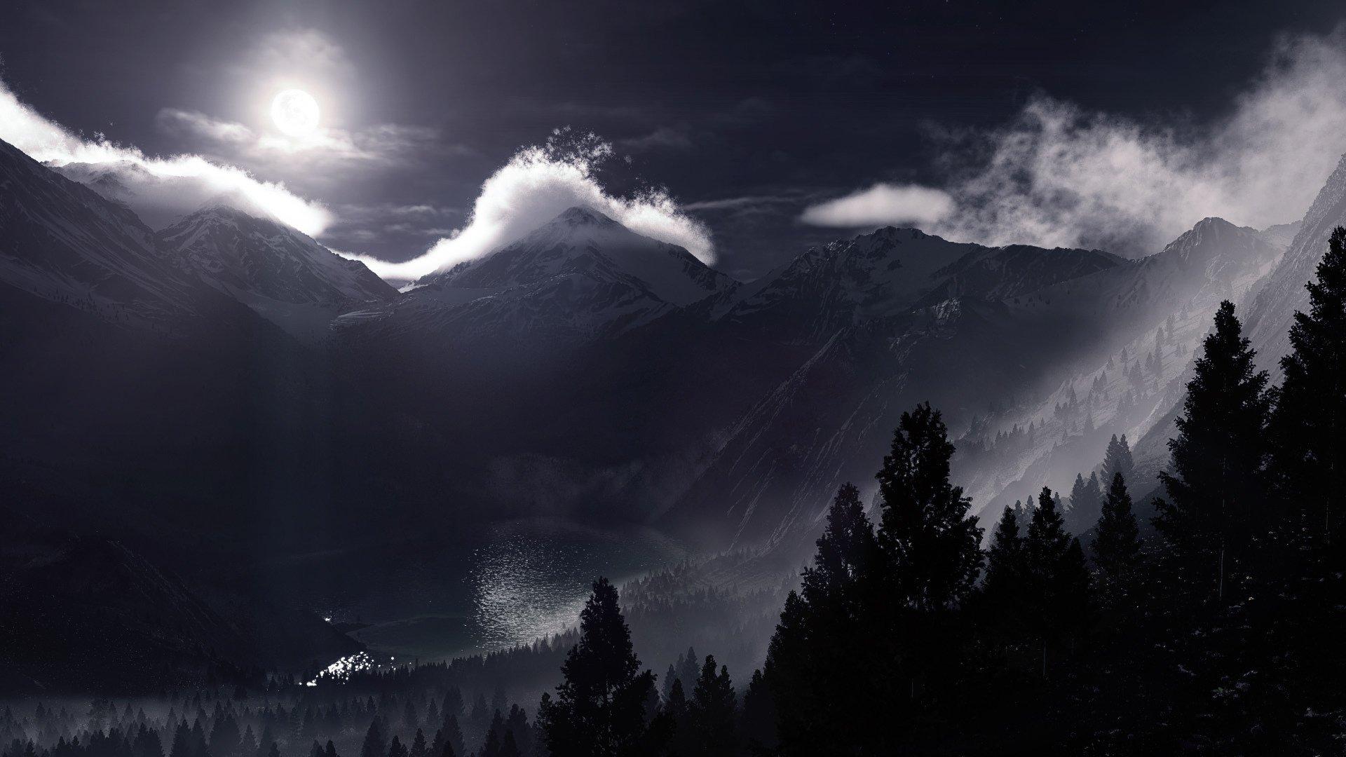 мрачные ночные горы картинки бусин бисера альтера