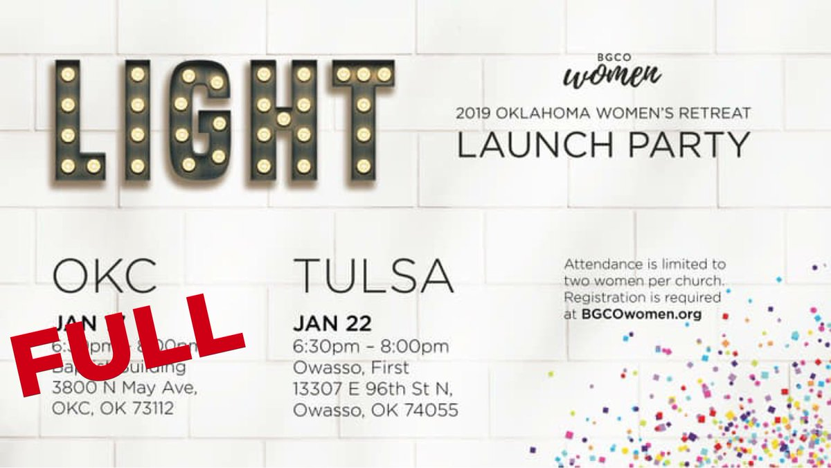 test Twitter Media - OKC Launch Party is FULL! There is still space at the Tulsa Launch Party!  —- Tulsa Information: January 22 6:30-8:00pm Owasso First Baptist —- Register Now! https://t.co/BLAKmJwdnA https://t.co/toilI1wOkU