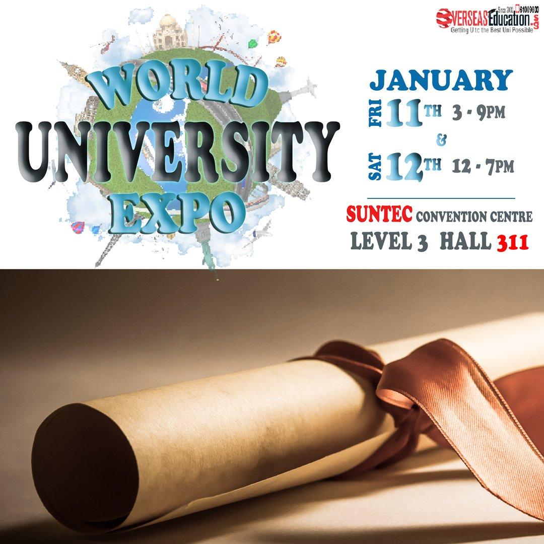 Don't miss the World Uni Expo on Fri 11 Jan 3-9pm & Sat 12 Jan 12-7pm at Suntec Level 3 Hall 311. Meet UK, Australia & NZ Unis, Uni Fdn, A levels & Hotel  School. Call 61009800 or visit http://expo.OverseasEducation.sg for more info! #anglicanhighschool #acsbarker #cgss #cedargirls #edusgpic.twitter.com/xK6GxdNkan