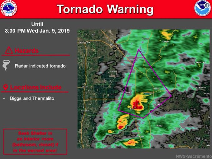 Tornado warning issued for parts of Butte County. Photo