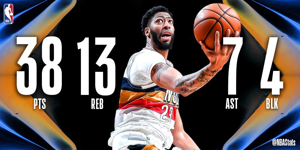 Anthony Davis stuffed the stat sheet in New Orleans, finishing with 38 PTS, 13 REB, 7 AST, 4 BLK in the home win! #SAPStatLineOfTheNight <br>http://pic.twitter.com/dUmCIderp8