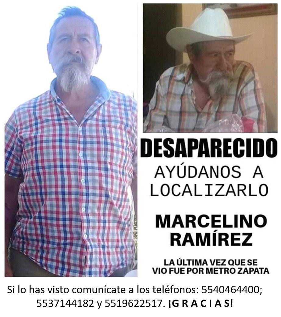 @AlertaPlateada pedimos su ayuda para localizar a Marcelino Ramírez. La última vez que se vió fue el lunes 7 de enero de 2019 cerca del metro Zapata. Cualquier información será de mucha ayuda. Gracias!