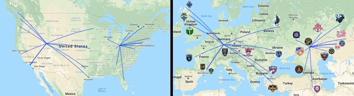 MLS clubs remapped to equivalent distances across Europe