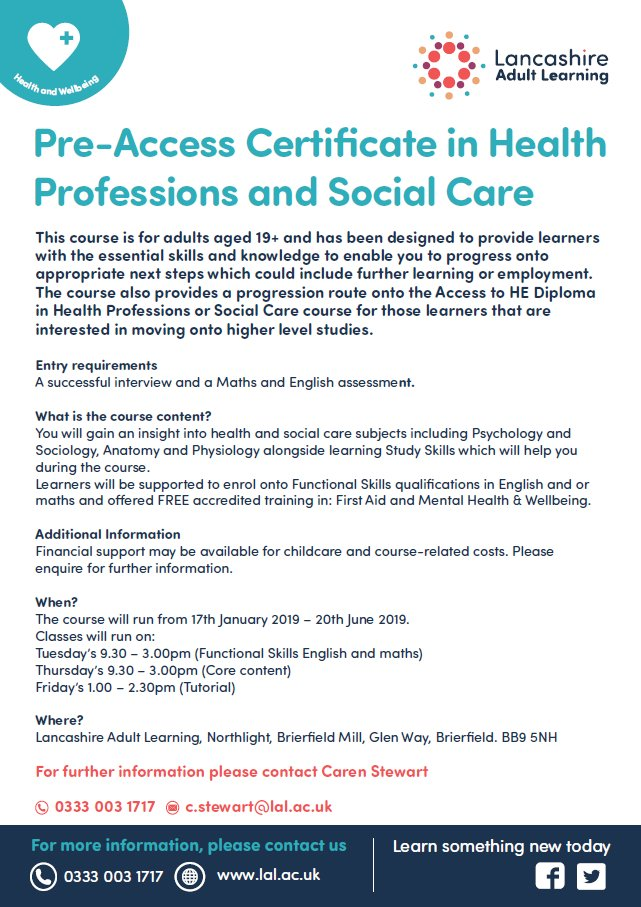 New year, new career or just want to upskill with @LancsLearning #healthcare #upskillinglancashire #upskillinglancashire @LancsSkillsHub @JCPinLancashire @alisonrushton @Cscheffmann  @anitajhoughton @lancspublib
