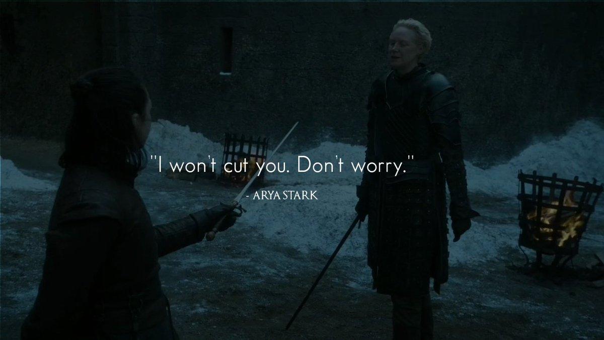 &#39;&#39;I won&#39;t cut you. Don&#39;t worry.&#39;&#39; - Arya Stark  #GameOfThrones  #GOT  #GameOfThronesSeason7 #Arya #Stark #GoTS8 <br>http://pic.twitter.com/MhbwMIhTbH