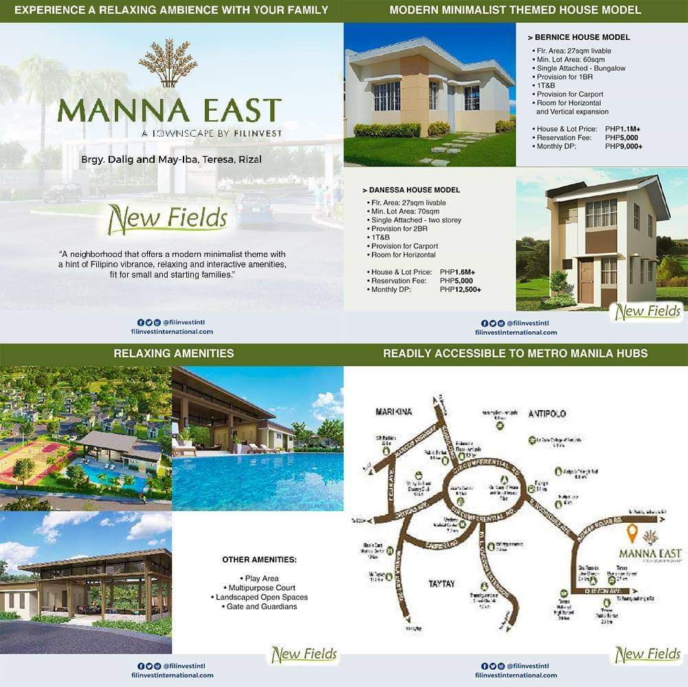 Get started on a bright future at Manna East, a Modern Filipino-themed mixed-use development in Teresa, Rizal. The perfect environment to raise a family. #Filinvest #FilinvestInternational #OFW #Investment #RealEstate #Opportunity #RentalIncome #ExtraIncome #Family #Future https://t.co/b9UbBPhUBm
