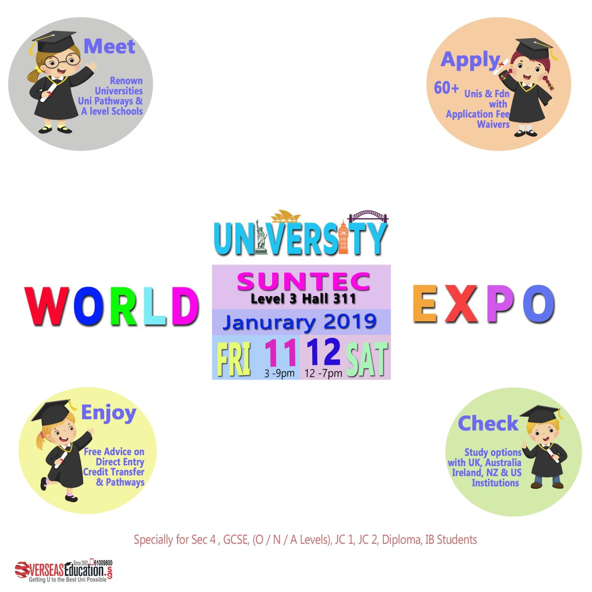 Visit 2019 World Uni Expo on Fri 11 Jan 3-9pm & Sat 12 Jan 12-7pm at Suntec Level 3 Hall 311. Find out more from UK, Australia, NZ & US Unis Staff & our Senior Advisors on Direct and Pathway entry. Call 61009800 or visit http://expo.OverseasEducation.sg #instasg #mothershipsg #sggag #unipic.twitter.com/h0HgIHAWIE