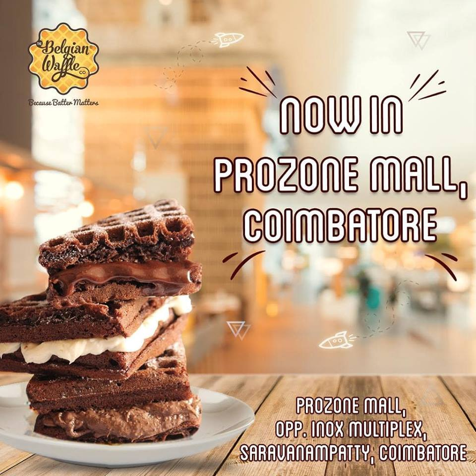 The Belgian Waffle 😍 now in Prozone Mall Coimbatore.  Opp to INOX #prozonemallcoimbatore #belgianwaffle #coimbatore #malls2shop