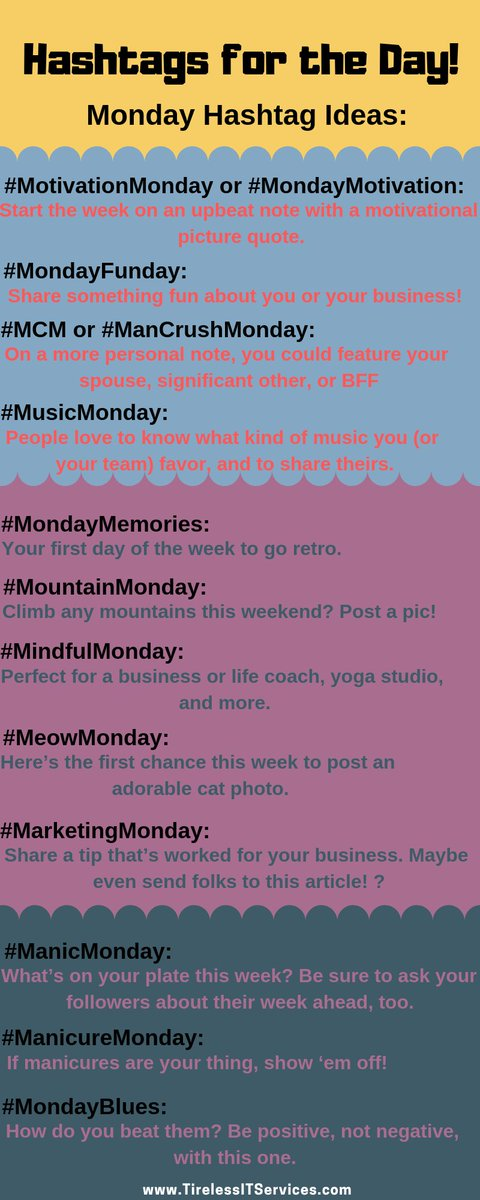 Tirelessitservices On Twitter Monday Hashtag Ideas Infographic