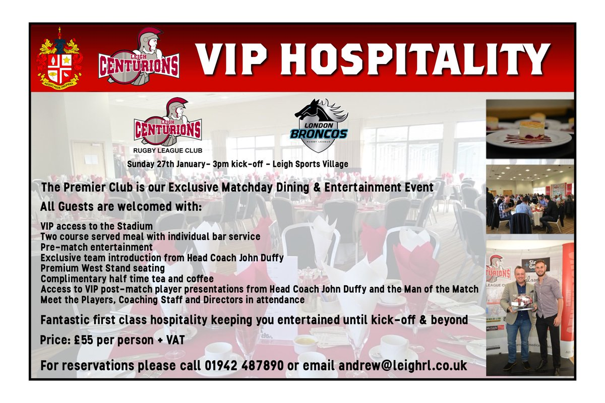 Why not treat yourself or a loved one to a fantastic afternoon in The Premier Club for the visit of @LondonBroncosRL? With fab food and fun guests it's the perfect way to watch the match in style and comfort. Come and join us!