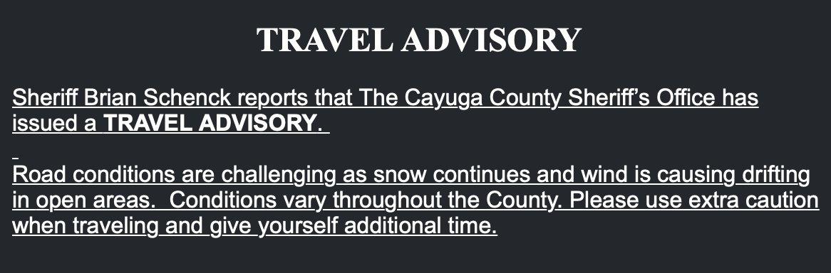 TRAVEL ADVISORY: Cayuga Co. motorists urged to use caution