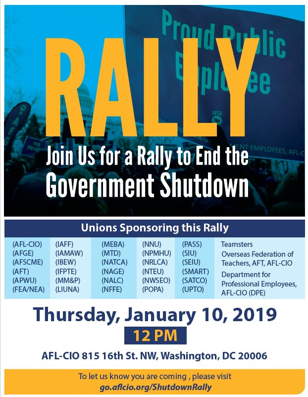 The Federal workers union:  American Federation of Government Employees  Definitely does not support the shutdown!