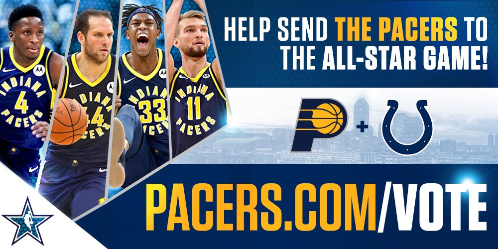 """Help the @Pacers get to the All-Star Game! Vote today and your ballot counts twice.   Here's how:  Online at  http:// Pacers.com/Vote  &nbsp;    OR  Google """"NBA Vote Pacers"""" <br>http://pic.twitter.com/X2yp4Rtg7B"""