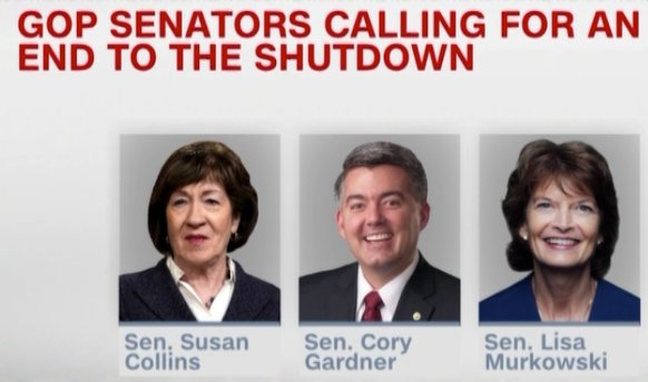 """GREAT UNITY""  LOL…  The list of Republicans who have publicly called for President to open the government back up!  @SenatorCollins @SenCoryGardner  @lisamurkowski   Hmm… 🤔🤔🤔  Unity???? 👇"