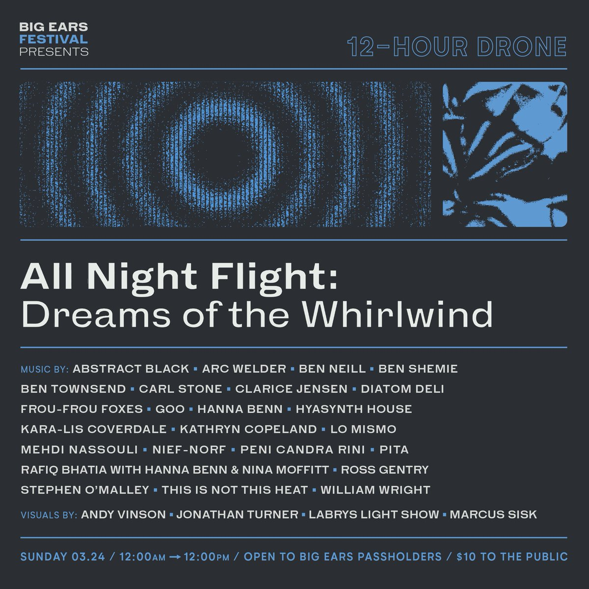 We're thrilled to announce the second edition of All Night Flight, our 12-hour drone concert, at Big Ears 2019. Join @IdeologicOrgan, @kliscoverdale, @rafiqbhatia, and 20 others for an overnight journey of seamless sound. Read about it: http://fal.cn/rGtM