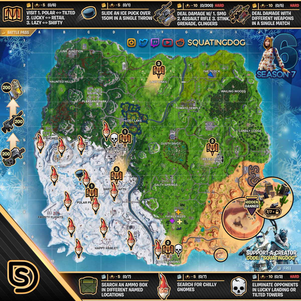 Full Cheat Sheet With All Season 7 Week 6 Fortnite