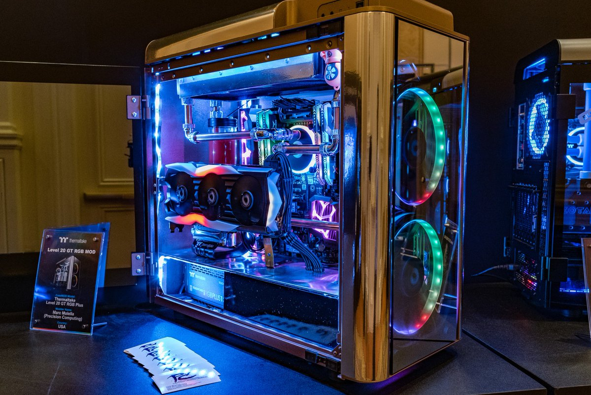 Custom PC mod from @Thermaltake at #CES2019 using the TT Level 20 GT