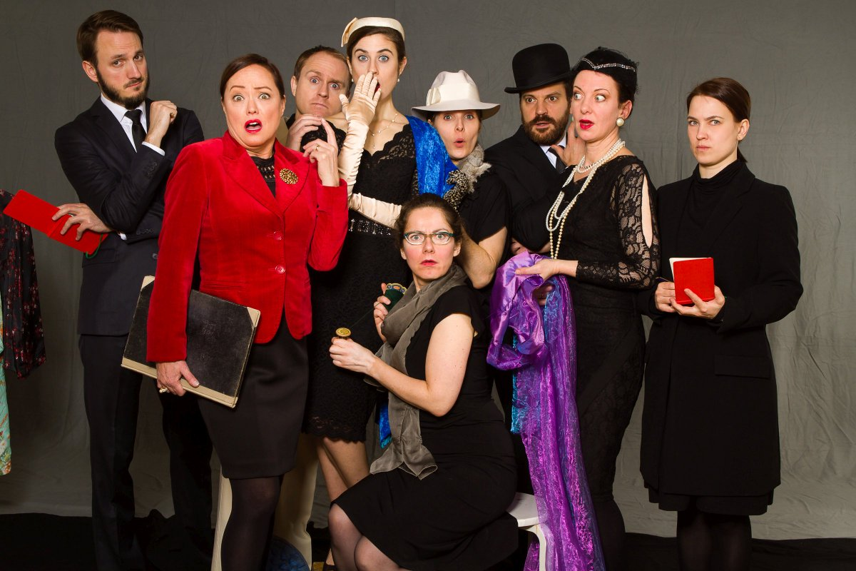 """Why so surprised? These guys all happen to be part of the entertaining murder mystery """"Death in High Heels"""" which will go up on 13 Feb at http://tadm.de #whodunnit #itcouldbeanyoneofthem #theaterinhamburg http://www.hamburgplayers.depic.twitter.com/mNPzJVPxvz"""