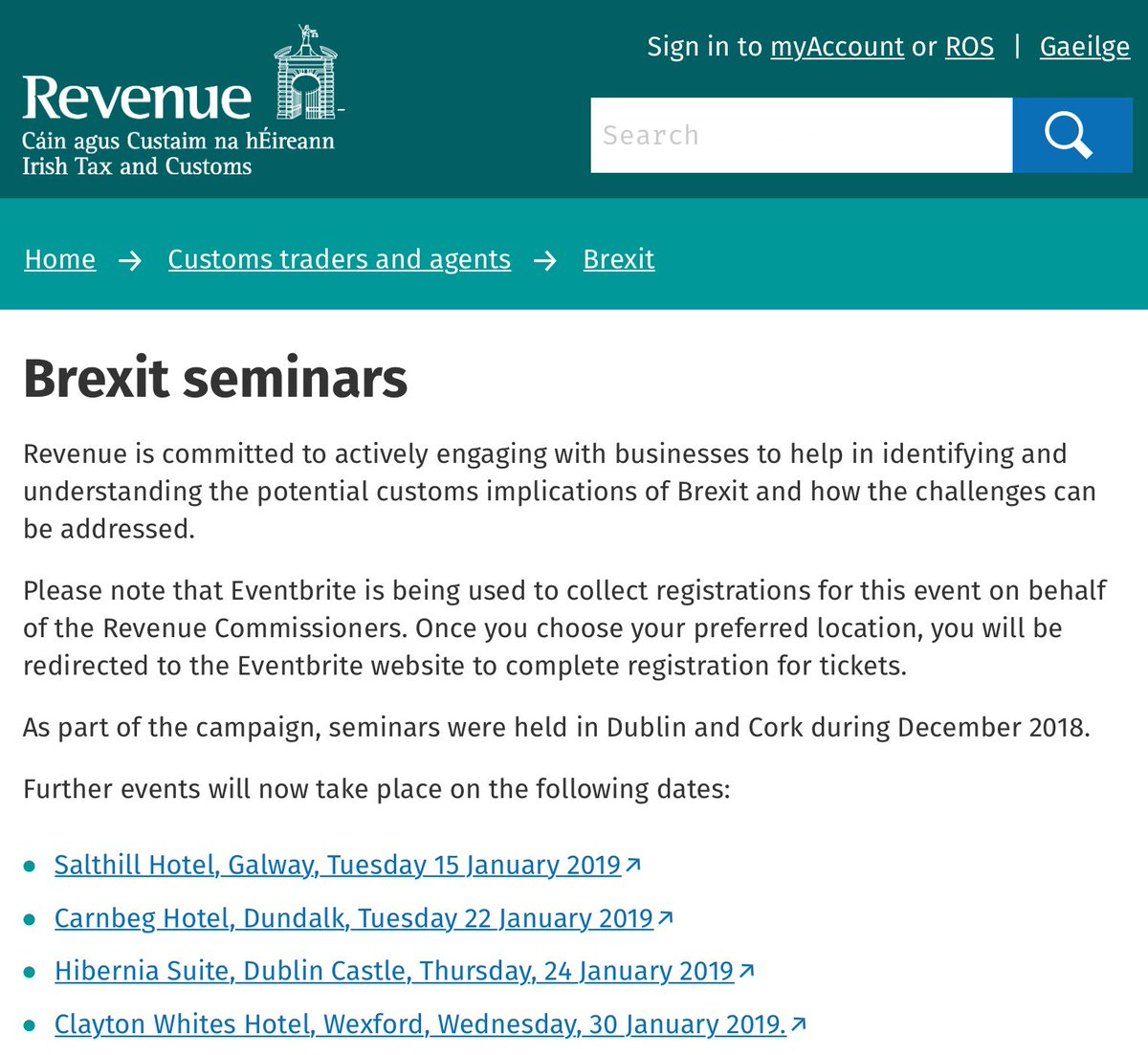 Revenue Seminar | Brexit Tuesday 22 January @CarnbegHotel, #Dundalk  Large Importers/Exporters & Logistics Companies that trade with, or have goods moving through, the UK are encouraged to attend the upcoming @RevenueIE #Brexit Seminar https://www.revenue.ie/en/customs-traders-and-agents/brexit/brexit-seminars/index.aspx … #LouthChat