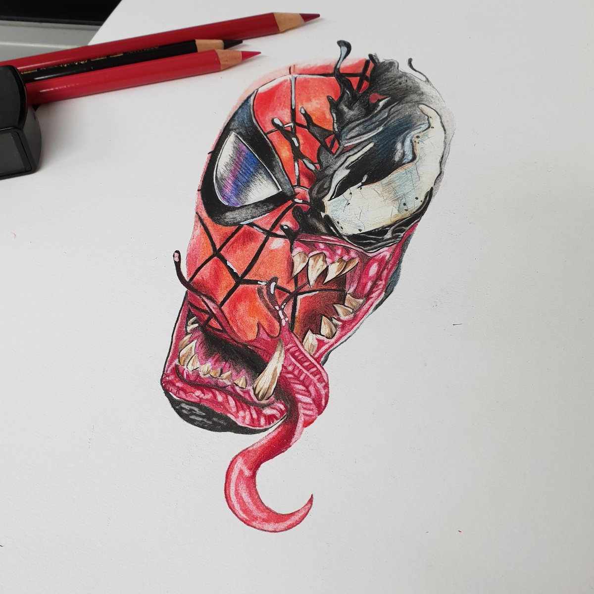 Was so happy with how this turned out #marvelcomics #marvel #spiderman  #Venom #spidermanvsvenom #fabercastell #colour #drawings #FolloMe <br>http://pic.twitter.com/Ki65liJXjM