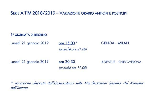 Cambiano gli orari della 1^ giornata di ritorno della #SerieA. Adesso sì che combattiamo seriamente violenza e razzismo da stadio 🤔 #GenoaMilan Foto