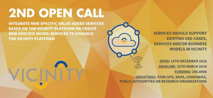 @VICINITY2020 ya tiene lista su segunda #OpenCall! Infórmate sobre los requisitos y condiciones...