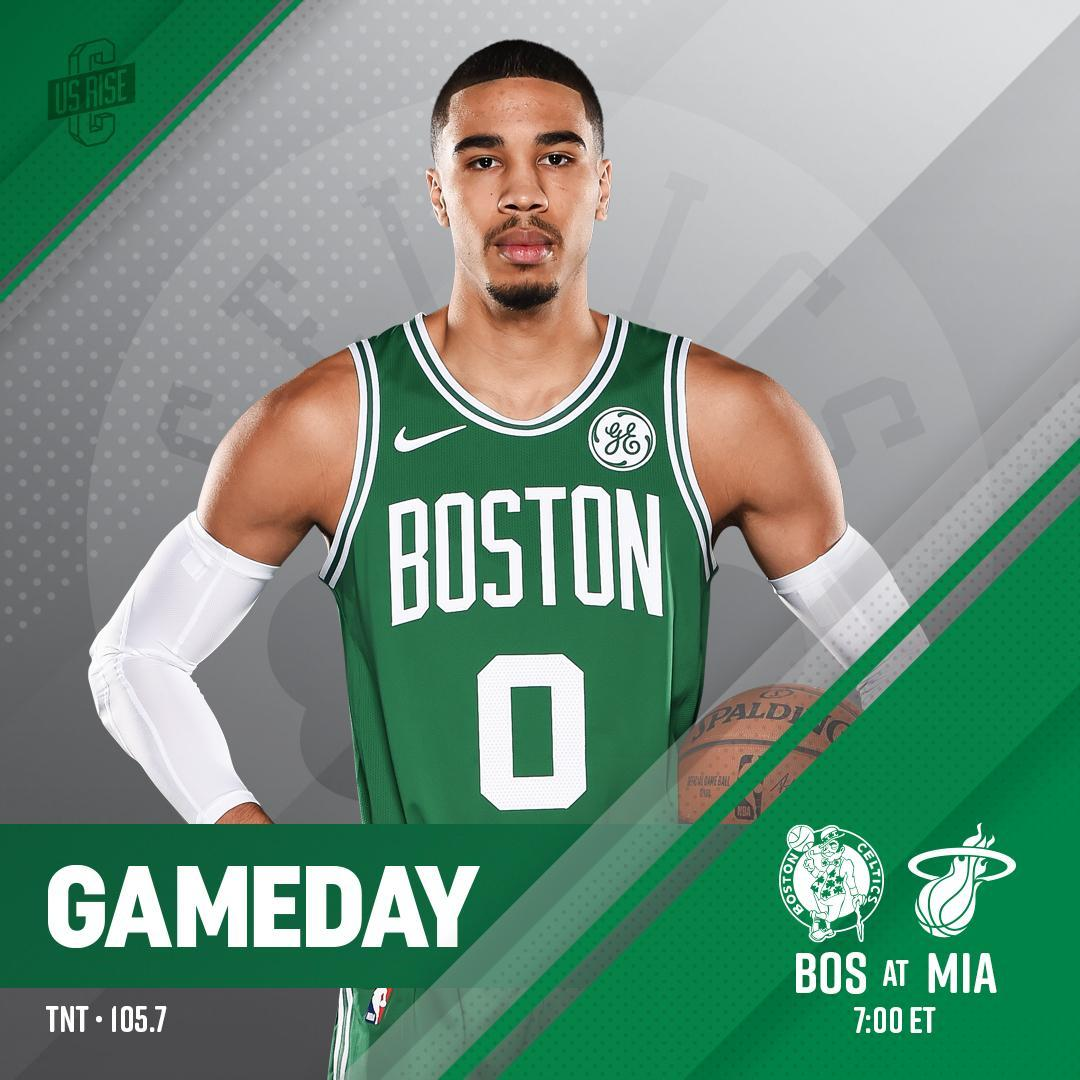 TONIGHT ☘ Celtics vs @MiamiHEAT  ��@AAarena �� 7:00 p.m. ��@NBAonTNT �� https://t.co/5go6O8daFh ��@1057WROR https://t.co/dj5sIzCAp8