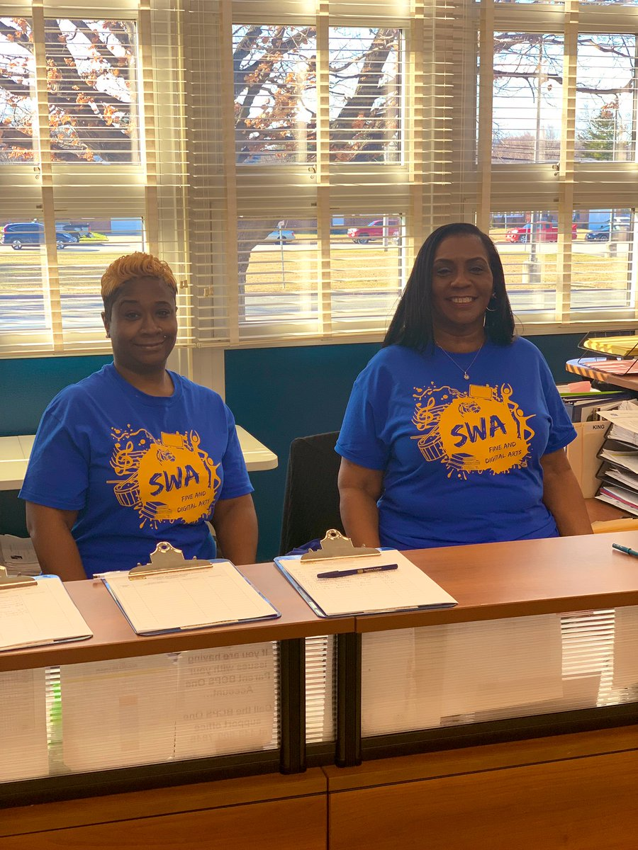 Our incredible @SwaMagnet administrative staff debuting our new Fine & Digital Arts t-shirts! #TeamBCPS #WeWearBlue – at South West Academy