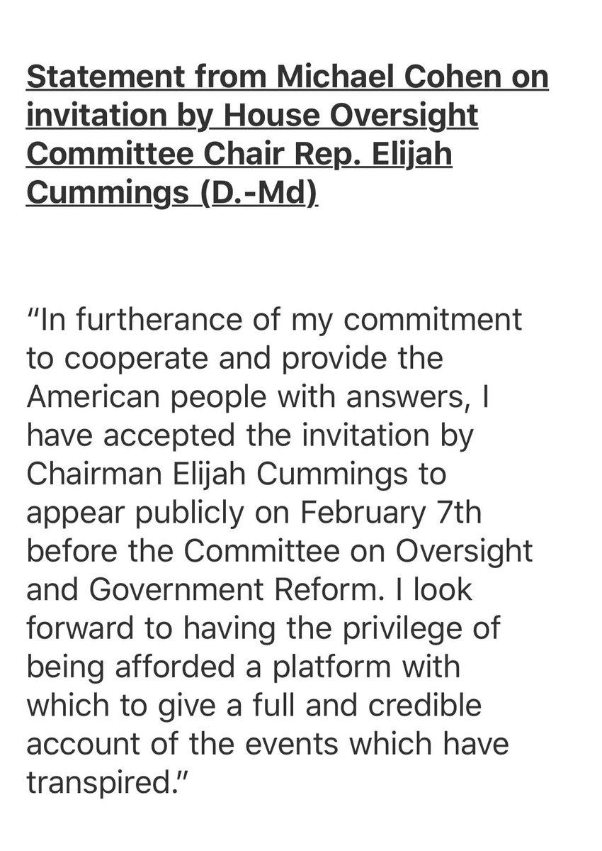 My statement regarding testifying publicly before Congress: