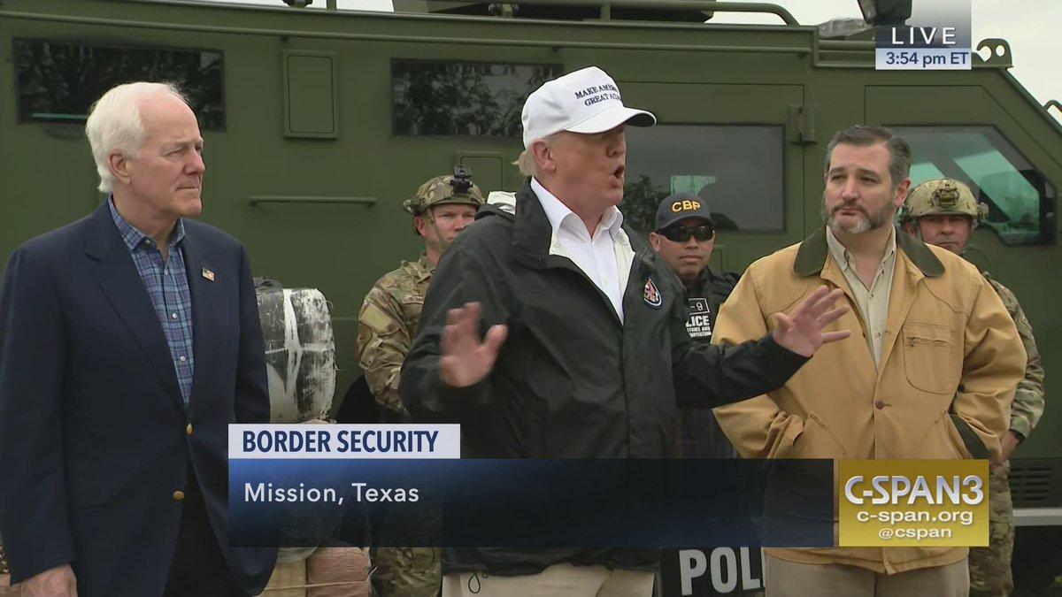President Trump, @JohnCornyn, @SenTedCruz receive #BorderSecurity briefing - LIVE on C-SPAN3 https://t.co/ZH7GxWenrm