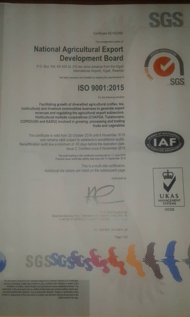 We celebrate an achievement in upgrading of NAEB's ISO 9001:2008 certificate to ISO 9001:2015 (Highest QMS Standard). This is a guarantee that our services in promoting agricultural exports are consistent and in conformity to customer requirements. Cheers to all our stakeholders