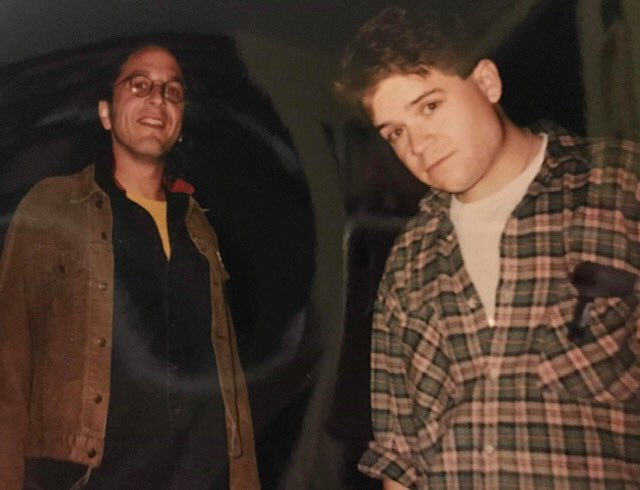 #tbt to...1992? Me & , tw@marcmarono bright-eyed dreamers about to tell jokes at a Cask 'n' Cleaver in Lodi, probably.