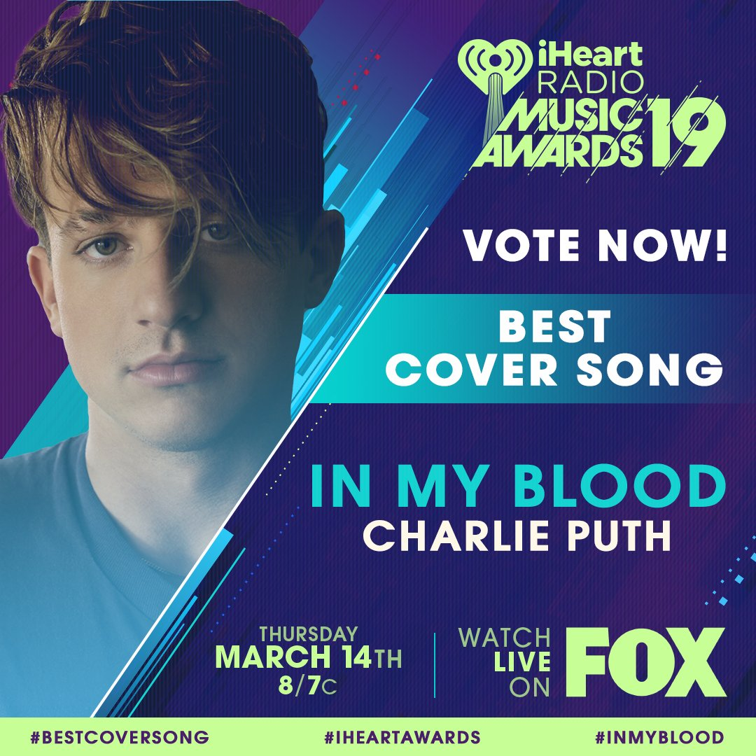 RT to vote for #InMyBlood for #BestCoverSong! #iHeartAwards