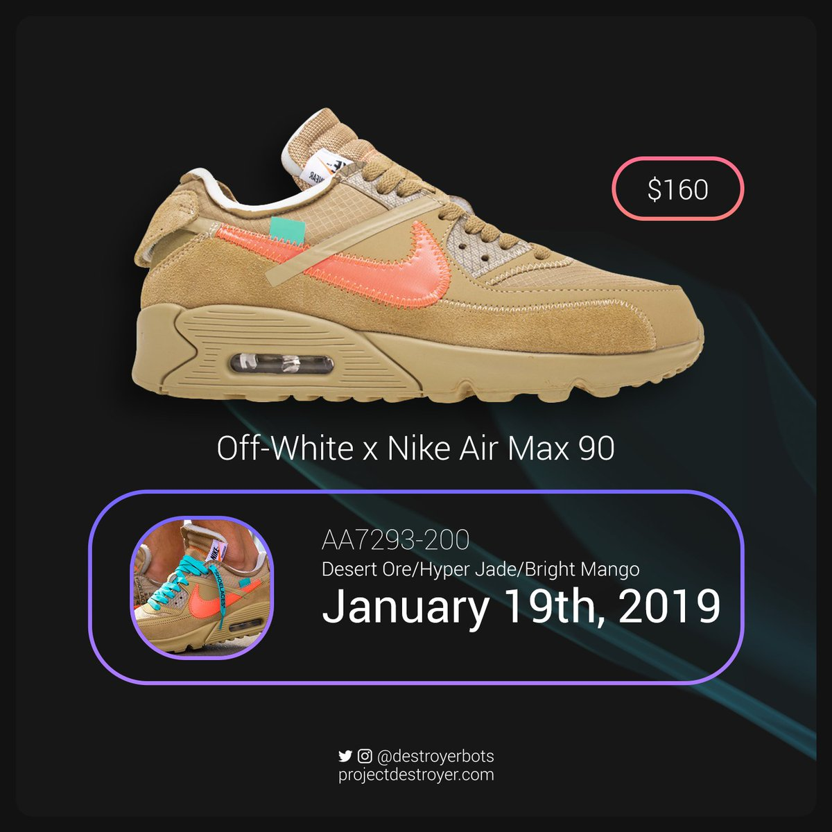 25d14dc18140a The retail price is set at  160 USD for this pair. Who s copping the Desert  Ore AM90 s  - Seanpic.twitter.com AGl6XXTqC1
