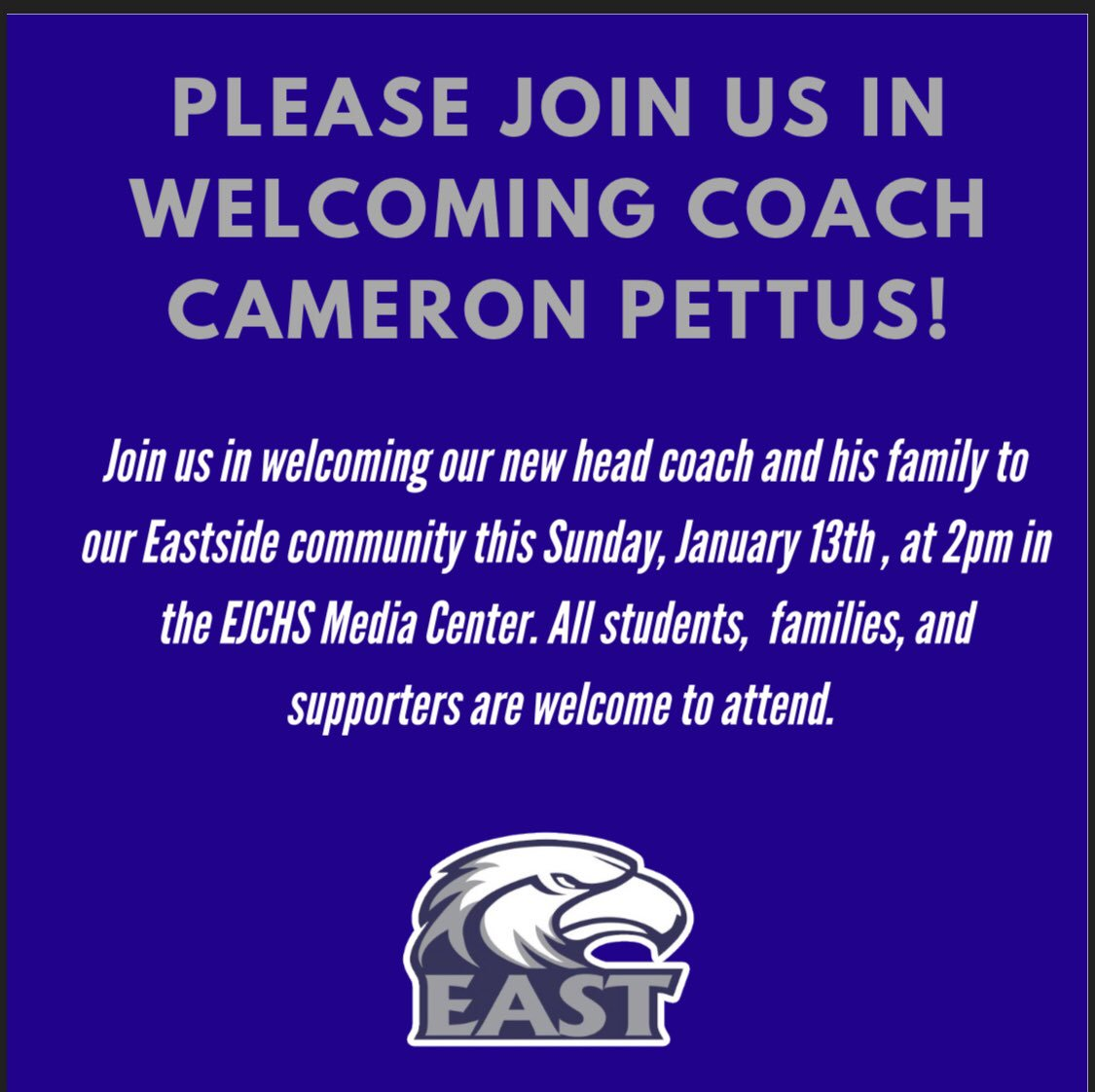 After much anticipation, we are happy to announce that Cameron Pettus will be joining the East Jackson #BluePride Community as the head football coach! <br>http://pic.twitter.com/Hq7cvIwJUt