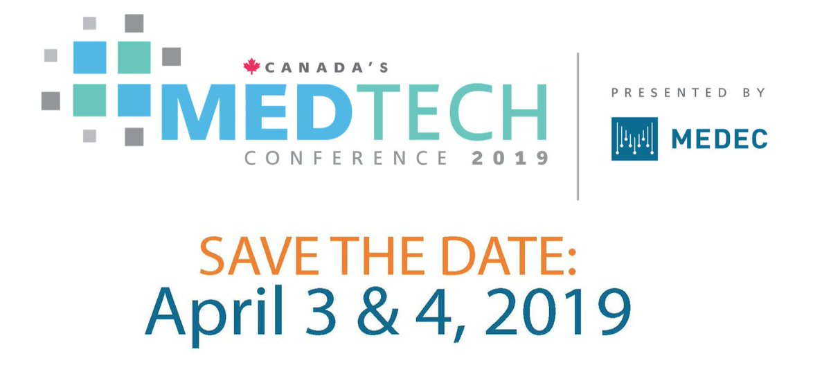 Pleased to see the @MEDEC_Canada 2019 MedTech conference on April 3-4 announced https://www.medec.org/page/CanadaMedTechConf… at the International Centre in Mississauga #medtech