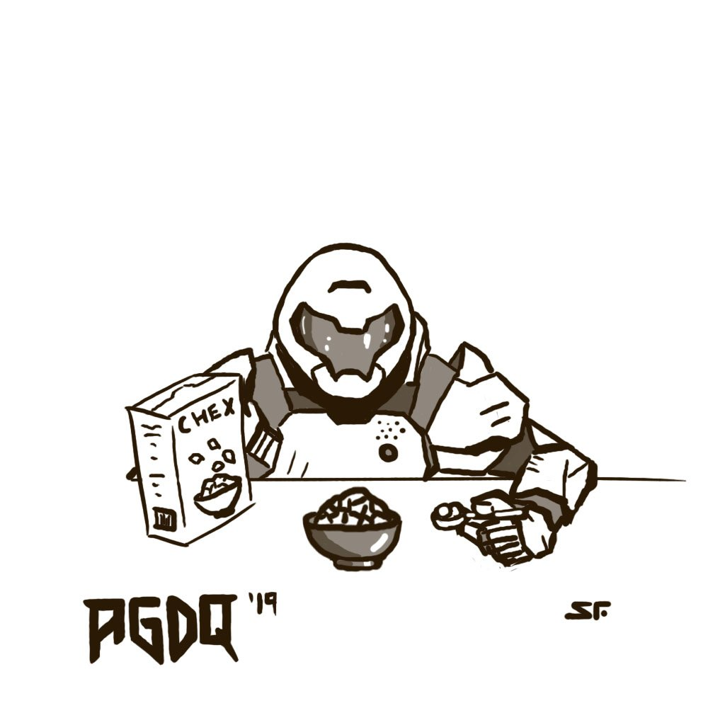 Doom Man enjoying some Chex™  #AGDQ2019 #gamesdrawnquick #DOOM #chex @GamesDoneQuick <br>http://pic.twitter.com/wltF2yGI3s