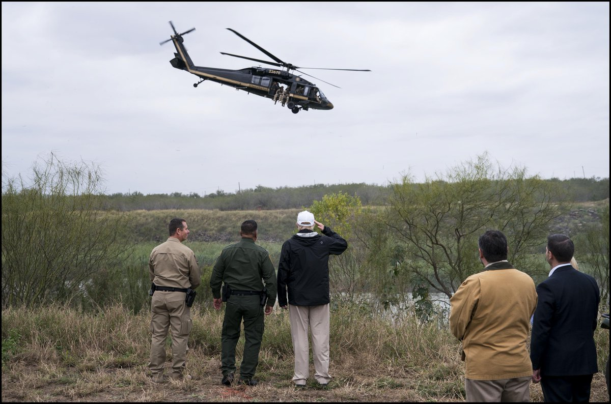 .@realDonaldTrump salutes border security agents in a Black Hawk helicopter as visits the Rio Grande in McAllen, TX