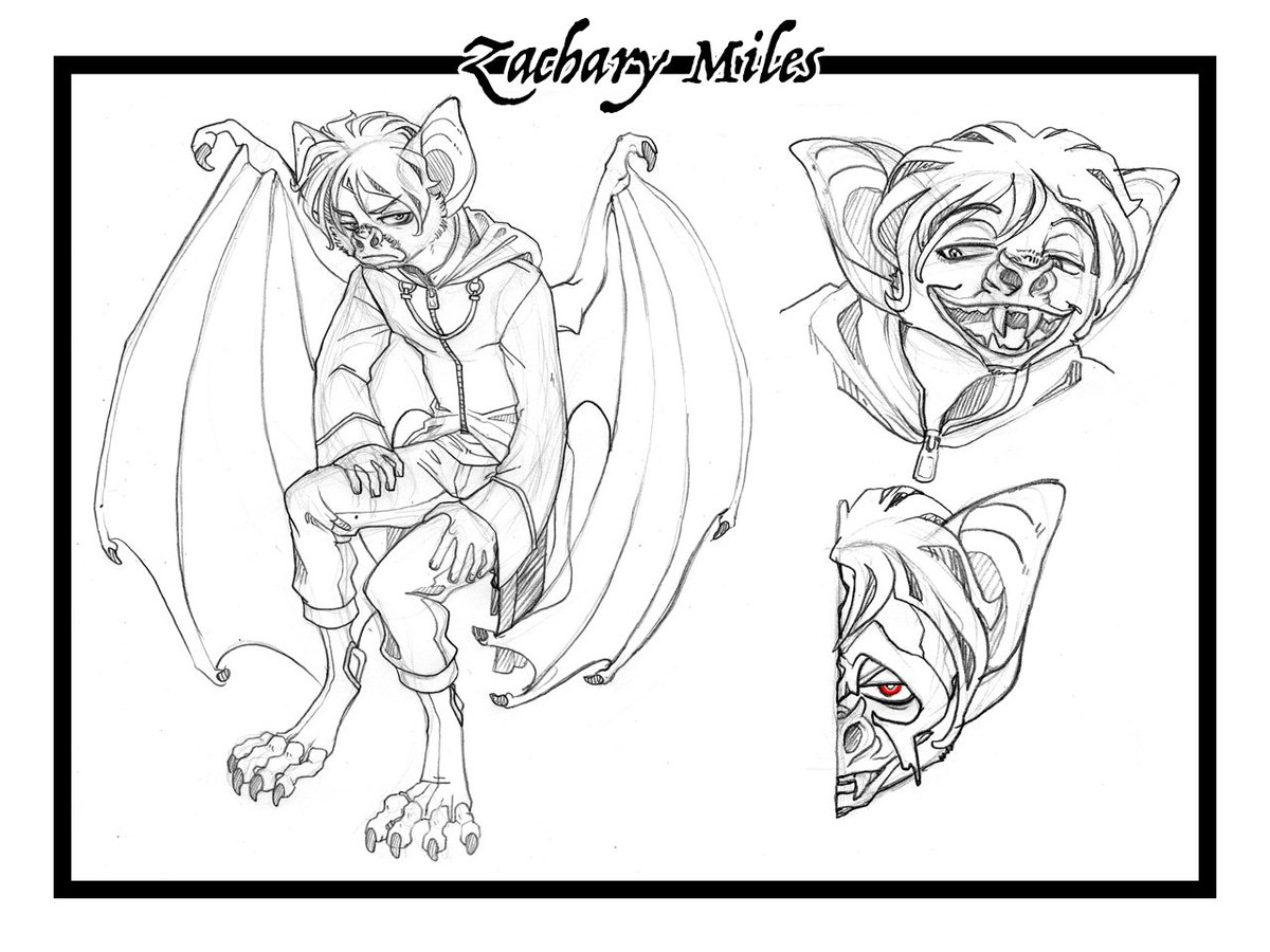 Finished Commission Sketch Character Design For Blaze Lupine Over On Fa Of One His Book Characters Zachary The Vampire Bat Who Is Half Sin