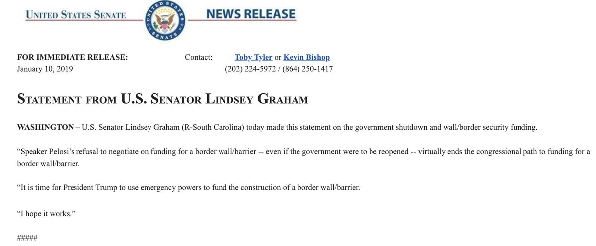 "BREAKING: Sen. Lindsey Graham calls for President Donald Trump to use ""emergency powers to fund the construction of a border wall/barrier."""