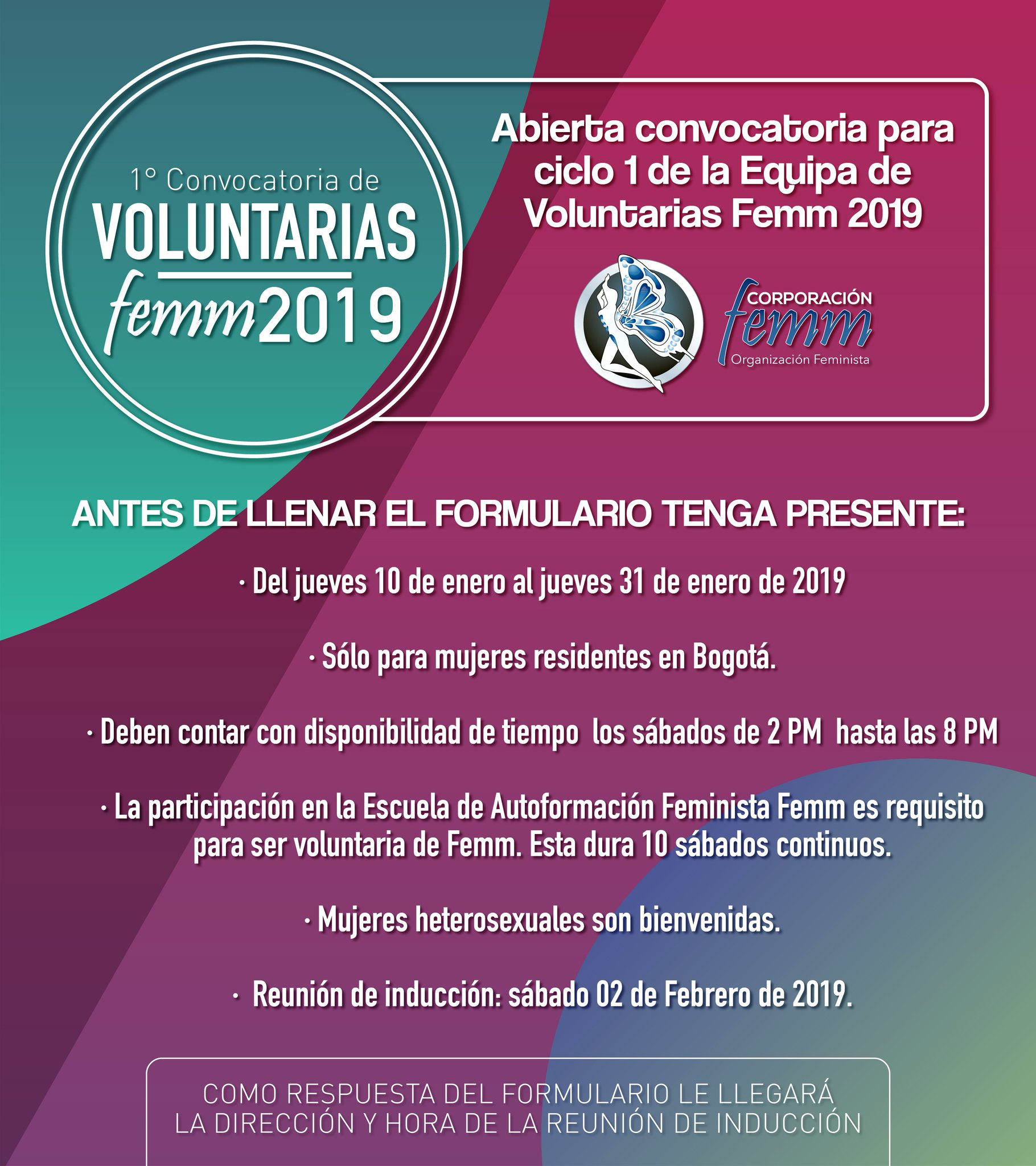 Voluntarias Ciclo 1 de 2019
