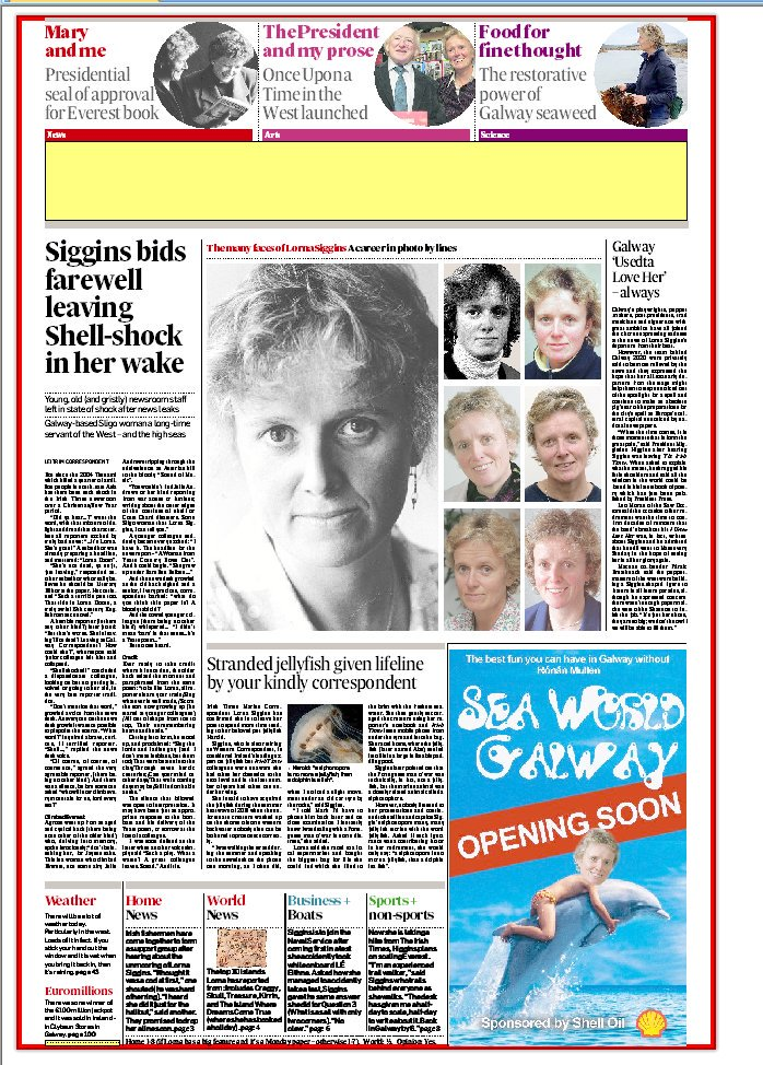Mock-up farewell Irish Times front page (mast head added later) to popular colleague Lorna Siggins...
