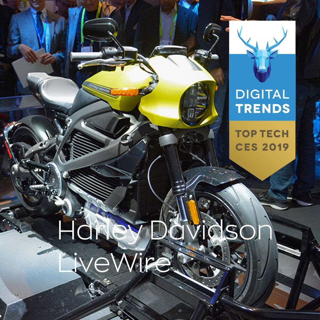 #LiveWire just took home the top honor in the Best Automotive Category in @DigitalTrends Top Tech of #CES2019. http://bit.ly/CES2019TopTech  🔥⚡️💪🏼  #DTCES #HarleyDavidson