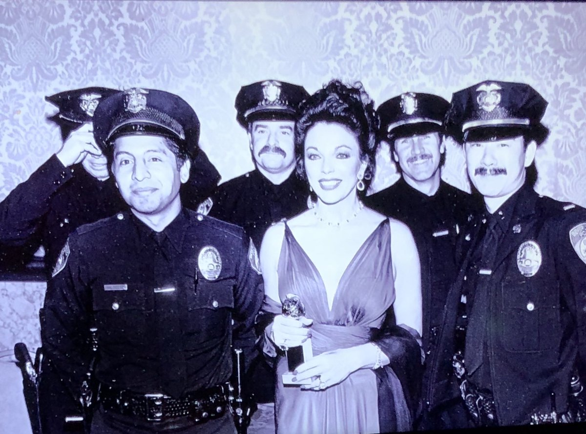 Always remember to thank the #boysinblue who keep us safe at all public events! Here in 1983 looking slightly #villagepeople @LAPDHQ @goldenglobes <br>http://pic.twitter.com/IgdN2Jy9X4