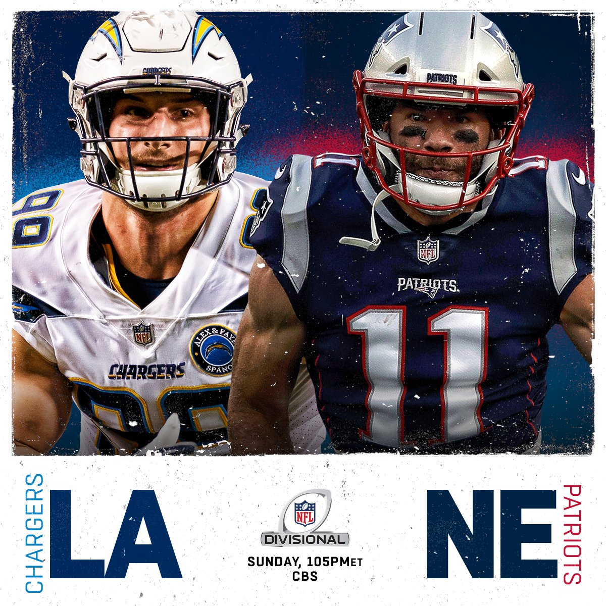 The @Chargers? Or the @Patriots? Who ya got?  ��: #LACvsNE. Sunday on CBS (1:05pm ET) https://t.co/rwPZcOrZHb
