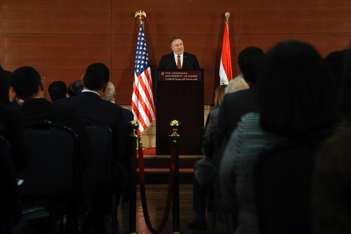 "Today, @SecPompeo delivered remarks on ""A Force for Good: America Reinvigorated in the Middle East"" in Cairo, Egypt. Read or watch his speech here: https://t.co/kcv3AHQiAW 